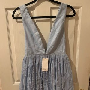Light Blue Low Cut Mini Dress
